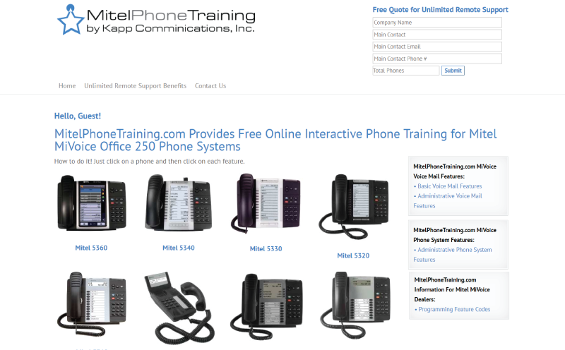 MitelPhoneTraining.com Interactive Online Training Website Development