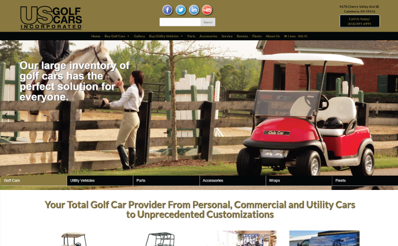 US Golf Cars Responsive E-Commerce Web Design