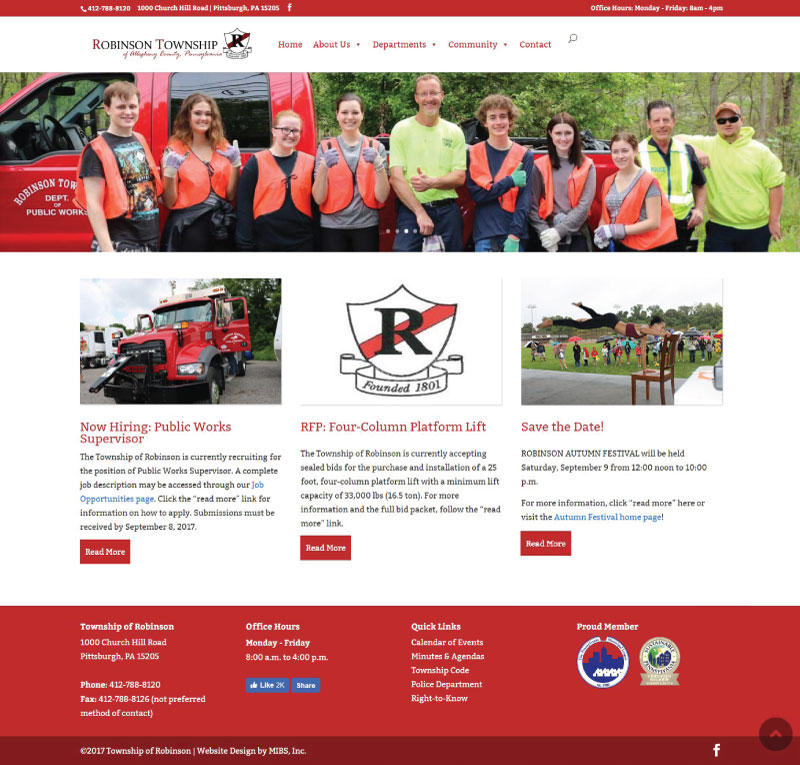 Robinson Township NEW website Home Page