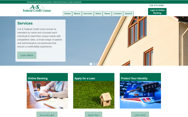 A&S Federal Credit Union Website Design