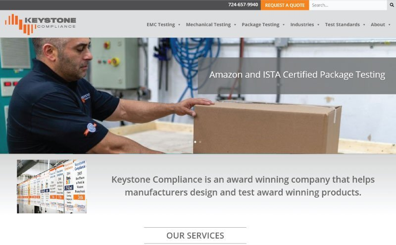 Keystone Compliance Home Page Redesign Screenshot