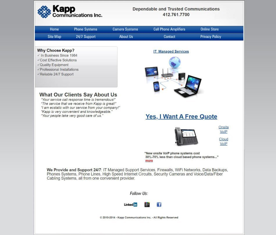 Kapp Home Before Redesign - Screenshot