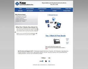 Kapp Communication's website homepage before redesign.
