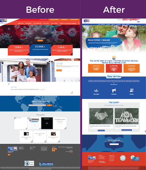 This pictures features a picture of the UWLS homepage before the MIBS, Inc. redesign on the left and a screen shot of the UWLS homepage after the redesign on the right.