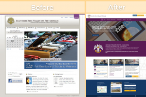 Before and After pictures of the website homepage